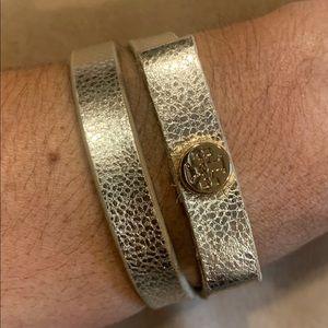 Authentic Tory Burch gold leather wrap bracelet